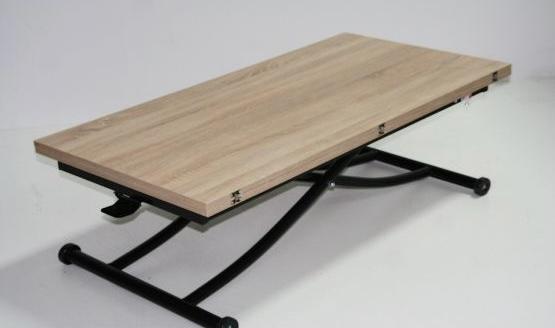Разтегателна маса с повдигащ механизъм-Sonoma/Oval Black